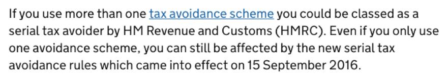 Screenshot from HMRC website
