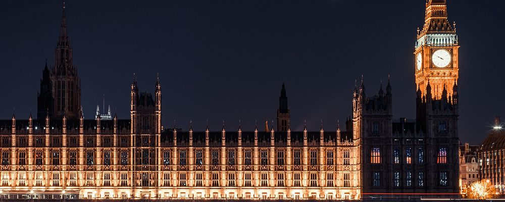 Houses of parliament on an autumn evening