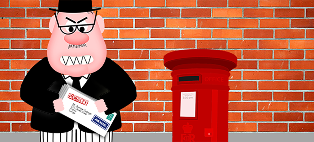 Ian Spectre with HMRC penalties at postbox