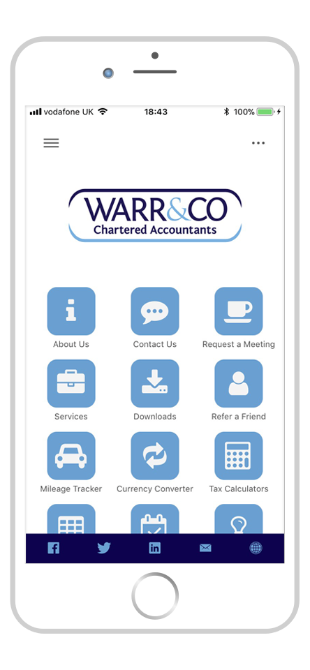 screenshot of the warr & co smart phone app