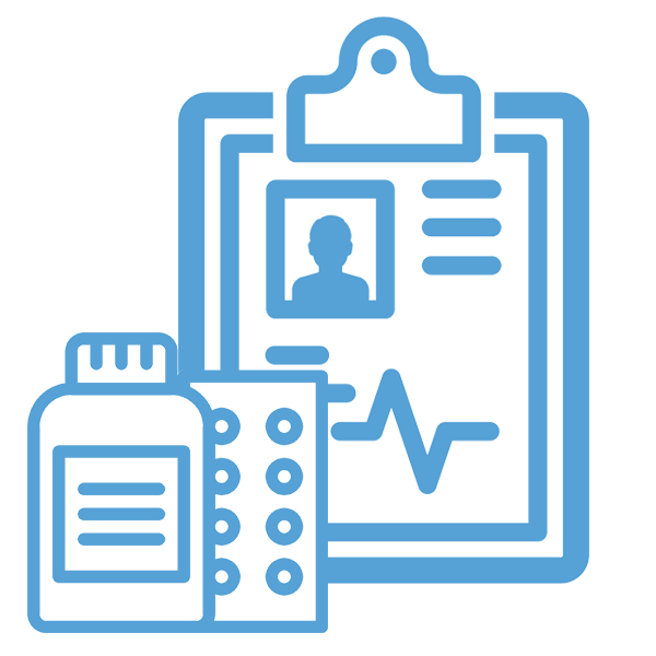 medical forms and pills icons