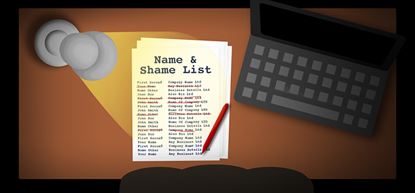 Spectre's desk with a list of names to target concerning Loan Schemes