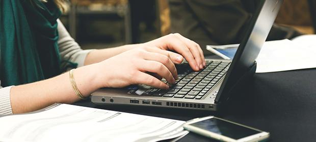 Employer on laptop