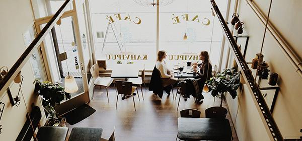 Partially empty cafe