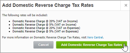 Setting up domestic reverse charge in Sage 50