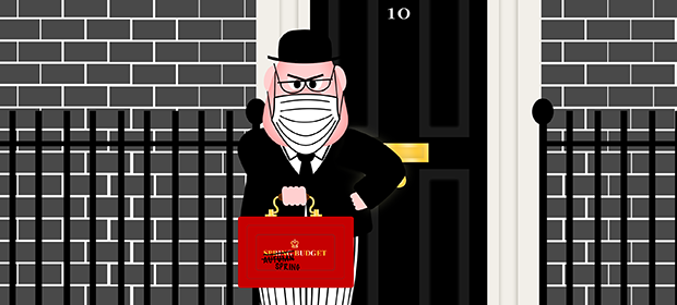 Spectre outside 10 Downing St carrying the red budget briefcase