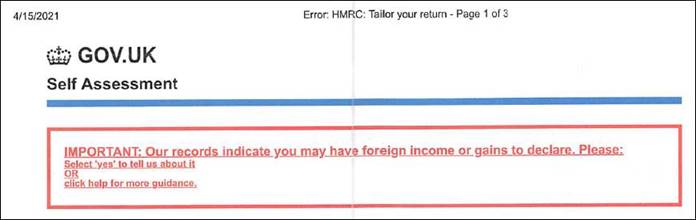 HMRC warning about overseas income on self assessment tax returns